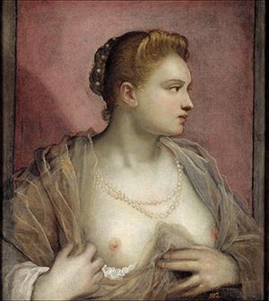 Tintoretto, Jacopo Robusti - Lady Baring her Breast, Ca1