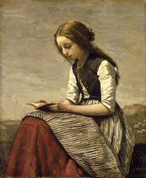 Camille Corot - Girl reading, about 1850  551
